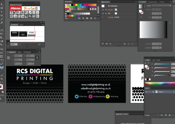 business card artwork setup